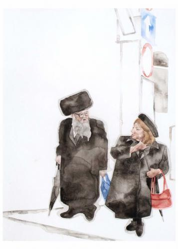 man & woman with red bag